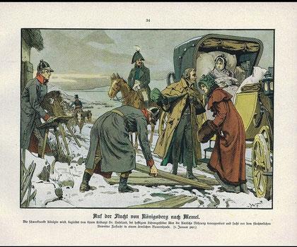 1807年の王妃ルイーゼのメーメルからケーニヒスベルクへの逃亡(パウル・キッテル1896年)