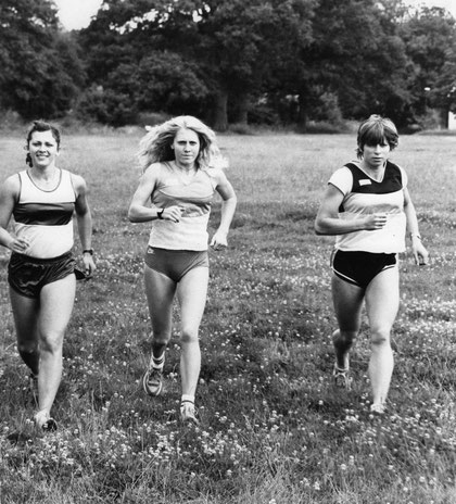 1981 London: Great Britain's Kathy Tayler, Teresa Purton and Sarah Parker train for the first ever Women's World Championships
