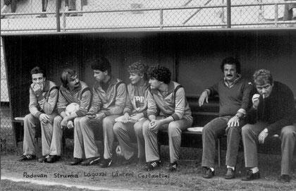 In panchina, insieme a Mister Baveni, due giovani promesse: Danilo Costantini e Paolo Lanteri