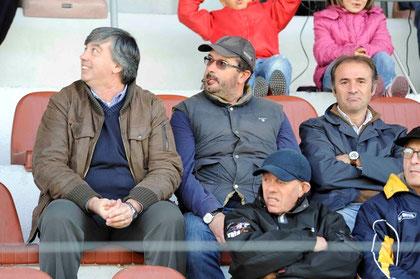 Il Presidente Alberti in tribuna con Ficarella ed il neo D.G. Falanga