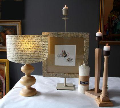 Abats-jour- Bougeoirs - Bois naturel - Laque noire - Laque blanche - Ampoule à filaments - Créations uniques - Ambiance Shabby chic