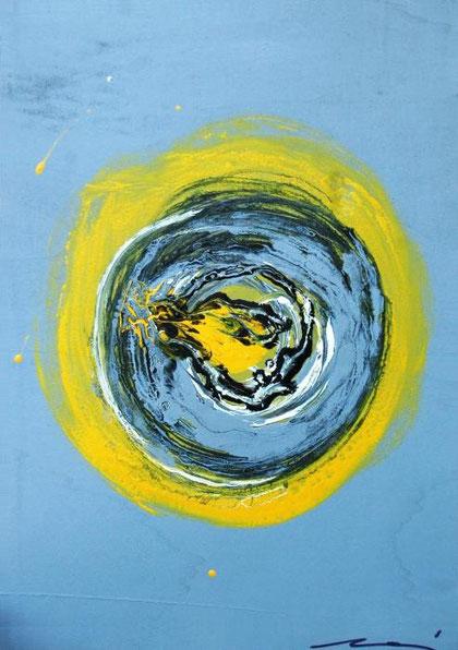 Munari Cinzia - Yellow hole - acrilico legno - 50 x 70