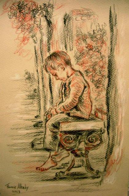 Allenby Francis G. – L'orfanello – matita cartoncino - 20 X 30