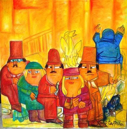 Tapparini Ugo - La città in fiamme - olio tela - 90 X 90