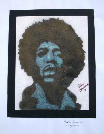 Zanuccoli Beatrice - Jimi Hendrix - aerografia su tela - 30 X 40