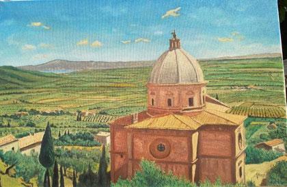 Alesci Francesco - Paesaggio toscano - olio tela - 60 X 40