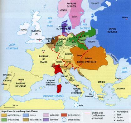Carte de l'Europe en 1815.