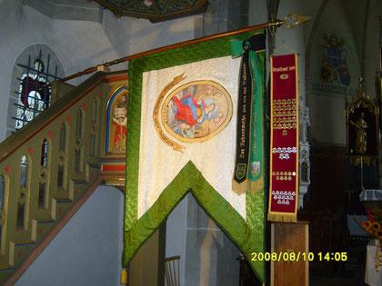 Vereins-(Barbara)-Fahne mit Patinen-und Ehrennagelband