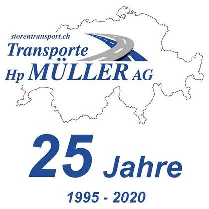 Hp. Müller AG Dietikon Storentransport, Transportunternehmen spezialisiert auf Sonnenschutzsysteme 25 Jahre