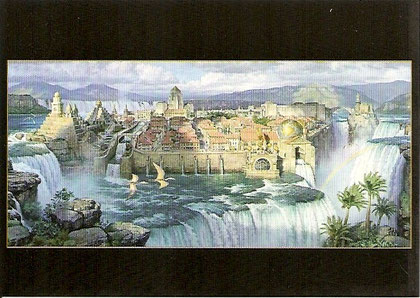 Une autre vue de Dinotopia. Warterfall city, afternoon light.