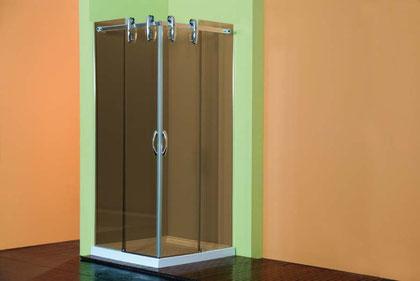 Mampara de ducha de vidrio sin perfilería