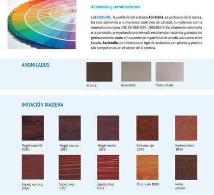 Colores cortina vidrio