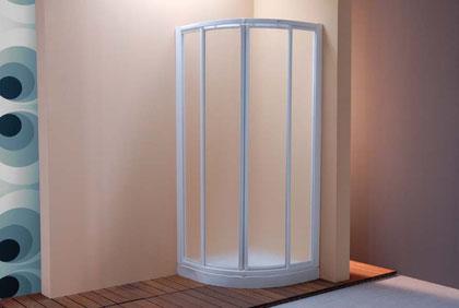 Mampara semicircular de ducha blanco