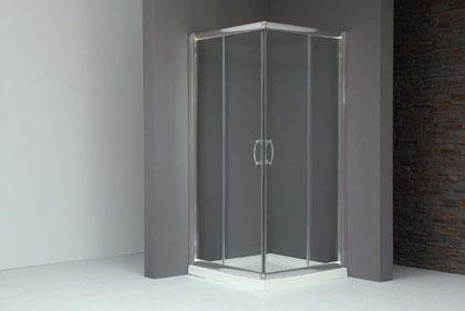 Mampara  de ducha angular plata