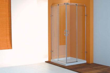 Mampara angular de ducha con correderas centrales
