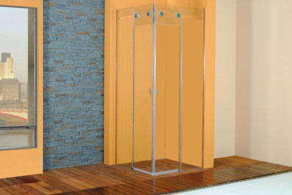 mampara angular de ducha con vidrio