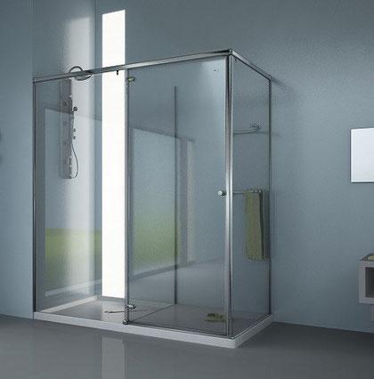Mampara rectangular de ducha con zona de secado y vestidor HumiDry-4C