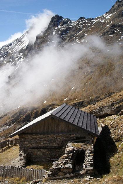 Blick vom Tauernhaus (knapp unterhalb der Hagener Hütte) zurück hinauf Richtung Geißl