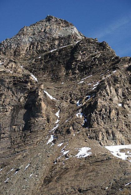 Die steile Gipfelrinne Richtung Vordere Geißl