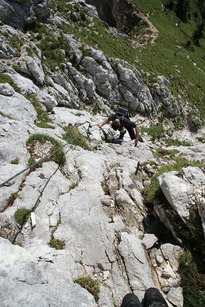 Im kurzen Klettersteig oberhalb der Forca di Vandul