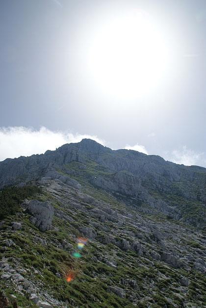 Abstiegsroute vom Gipfel zum Kriegssteig