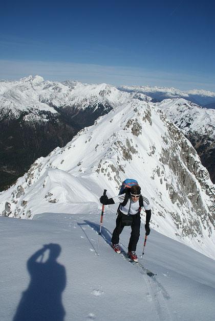 Die letzten Meter hinauf zu unserem Endpunkt, einem Vorgipfel des Monte Zermula
