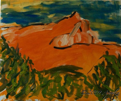 0028-Ste Victoire in Summer, 55/46cm oil on canvas