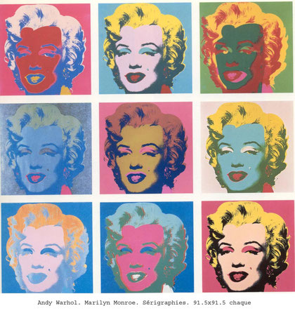 Marilyn Monroe, Andy Warhol, 1967, Sérigraphie, 91,5x91,5cm pour chaque cadre,  Collection privée.