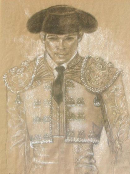 torero-dessin-fusain-kraft-manzanares-nîmes-art-tauromachie-costume