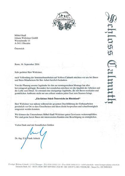 Wirleitner Referenzschreiben Jagdhaus Schloss Calmuht