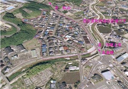 西の宮町内会の全域空撮画像(Google Earthより)
