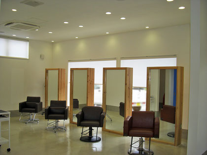 建築 施工例 岡山市の美容室 店舗デザイン、内装