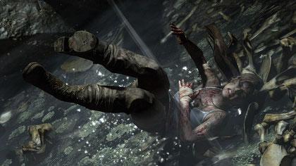 """Lara in ungewohnter Pose: Im neuen """"Tomb Raider"""" macht's auch mal heftig Aua."""