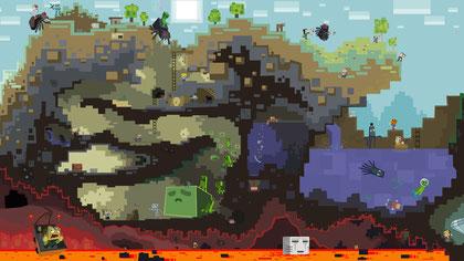 """Das grandios schrullige Artwork illustriert die """"Minecraft""""-Welt im Querschnitt."""