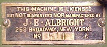 J.E. Albright, placca di legalizzazione dal costo di 2$ .