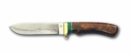 Jagdmesser aus Monostahl mit Hamon (Härtelinie)