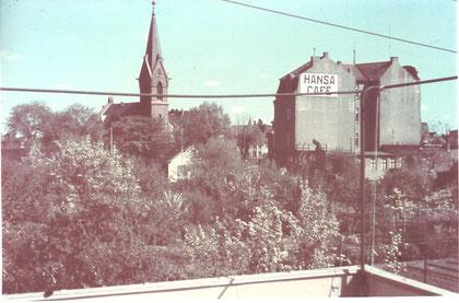 Herz Jesu Kirche und Café Hansa später Schnapp 1935 (Oehne BGG)