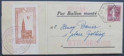 """1927 """"Ballon Montè"""" entire to Strasbourg."""