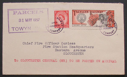 A cover to Gloucester showing stamp two (red & black), used on the 31st May 1957.