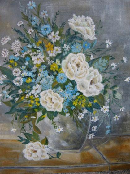 Pastellrosen in Acrylfarben 40x50 cm