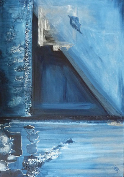 blaues Blatt,  70x50cm, Acryl, Leinwand auf Keilrahmen.