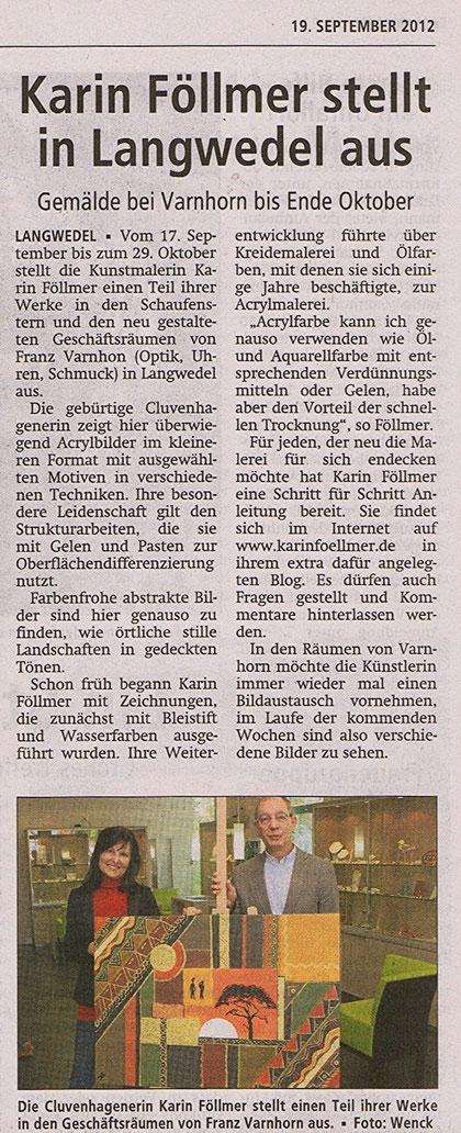 19. September 2012, Verdener Nachrichten und Achimer Kreisblatt
