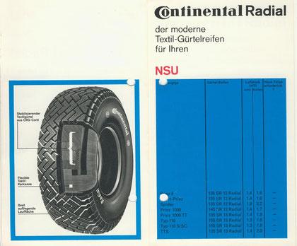 NSU Reifenempfehlung für Continental Gürtelreifen