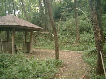 「風のように」 国際野外の表現展2010比企 2010年9月8日~14日制作展示14日~10月17日東京電気大学(TDU)鳩山キャンパス内 谷間に約60メートルの竹のインスタレーション設置