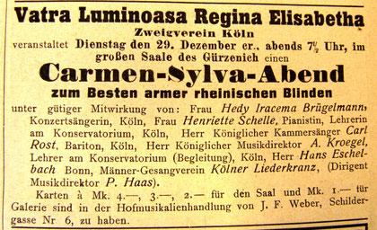 Carmen Silva Wohltätigkeitskonzert in Köln (Rheinische Musik- und Theaterzeitung)