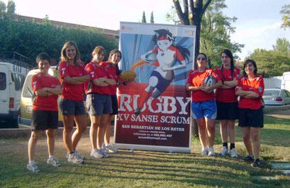 Jugadoras del XV Sanse Scrum durante las Jornadas de Promoción del Rugby en las Fiestas de San Sebastián de los Reyes 2009