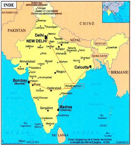 Carte Inde (Cliquer sur l'image pour l'agrandir)