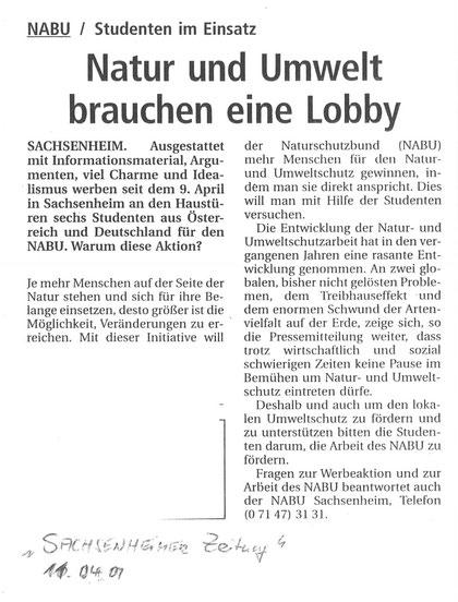 Bietigheimer Zeitung am 11.04.2001 über Werbeaktion von Studenten für den NABU