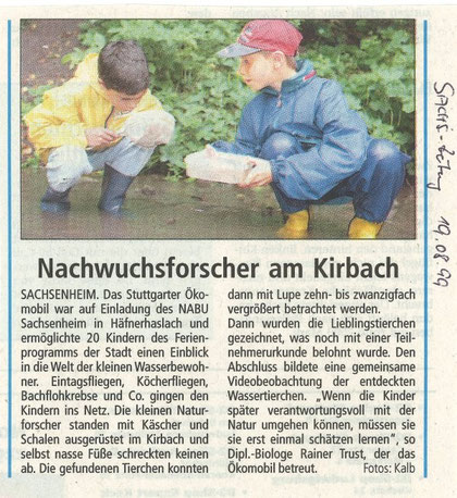 Bietigheimer Zeitung am 19. August 1999 über NABU-Ferienprogramm mit Ökomobil am Kirbach