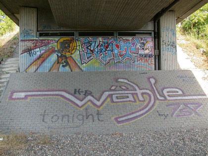 """Eine klare Aufforderung der Graffiti-Sprayer unter der Brücke: """"Wähle"""""""